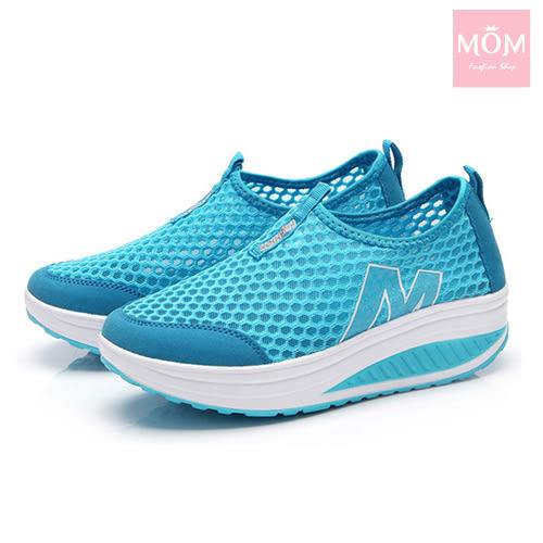 百搭時尚透氣網面M字造型美腿搖搖休閒鞋 運動鞋 藍 *MOM*