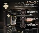 【臺灣製造 商檢認證】 36W大功率 PD+QC USB 超急速數顯智能車用充電器 雙孔閃電車充