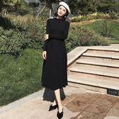 早秋新款復古chic風小心機露背綁帶修身顯瘦針織洋裝中長裙女裝