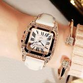 手錶 新款復古水鑽女錶韓版時尚學生石英錶真皮帶女士手錶女款鑲鑽 卡菲婭