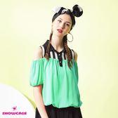 【SHOWCASE】條紋襯衫領挖肩雪紡縮腰上衣(綠)