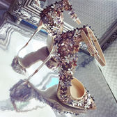 花朵尖頭細跟高跟鞋女水鑚單鞋金色婚鞋新娘鞋女  茱莉亞嚴選