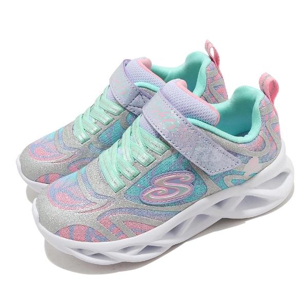 Skechers 休閒鞋 S Lights-Twisty Brights-Dazzle Flash 藍 彩色 中童鞋 運動鞋 【ACS】 302305LSMLT