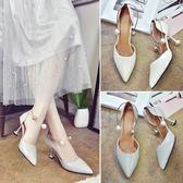 推薦女夏季新款正韓尖頭淺口細跟百搭小清新高跟鞋一字扣包頭涼鞋