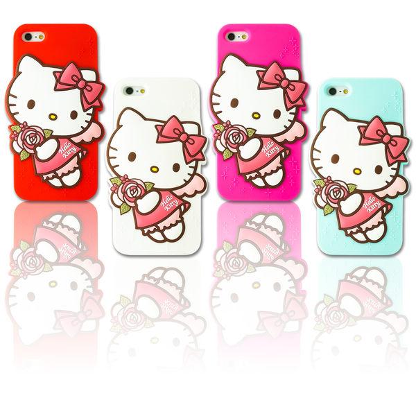 【MQueen膜法女王 APPLE iphone5 ise i5s Hello Kitty 凱蒂貓 三麗鷗 薔薇 矽膠 手機殼 韓國 背蓋 防撞