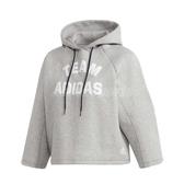 adidas 長袖T恤 VRCT Hoodie 灰 白 女款 帽T 連帽上衣 短版 運動休閒 【PUMP306】 DX8417