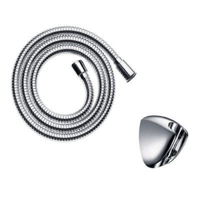【麗室衛浴】德國HANSGROHE  不銹鋼多層設計蓮蓬頭軟管28266+掛杯組