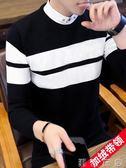 假兩件上衣男冬季帶領線衣韓版假領針織衫潮加絨加厚襯衫領毛衣男  潮流衣舍