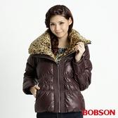BOBSON 女款豹紋大領片羽毛外套(32099-76)