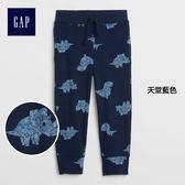 Gap男嬰幼童 基本款純棉印花鬆緊腰縮口休閒褲 215364-天堂藍色
