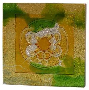 鹿港窯~居家開運琉璃磚【事事如意 (陰雕)】( 14.5X14.5cm ) 附古法製作珍藏保證卡◆免運費送到家