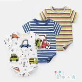 嬰兒連身衣 短袖條紋三角哈衣【奇趣小屋】