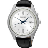 SEIKO KINETIC 紳士人動電能手錶(SKA771P1)-銀x黑/42mm 5M82-0BC0S