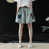 鬆緊腰貼布繡牛仔褲短褲 褲裙中大尺碼 【75-17-82399-19】ibella 艾貝拉