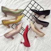 百搭貓跟鞋女新款小清新高跟鞋5cm細跟伴娘鞋中跟尖頭單鞋女