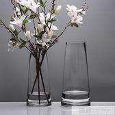 北歐T型簡約玻璃花瓶透明 圓柱花器客廳餐桌家居裝飾插花花瓶擺設  夏季新品 YTL