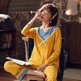居家服睡衣女夏季薄款純棉綢兩件套裝春秋可愛家居服可出門休閒長袖長褲 宜室家居
