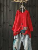 寬鬆七分袖破洞純棉破洞t恤內搭上衣-設計家/ Y6249