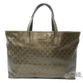 【GUCCI 古馳】211120 Imprime GG壓紋肩背購物包(古銅色)