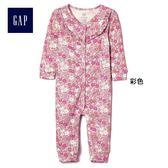 Gap女嬰兒 印花圖案長袖一件式包屁衣 375251-彩色