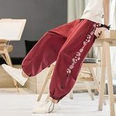 春夏長褲子男士中國風休閒褲寬鬆大碼哈倫褲男裝潮牌九分褲燈籠褲 陽光好物