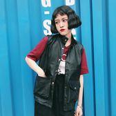 韓版學院風百搭雙口袋pu皮機車夾克短款學生馬甲外套女潮   蜜拉貝爾