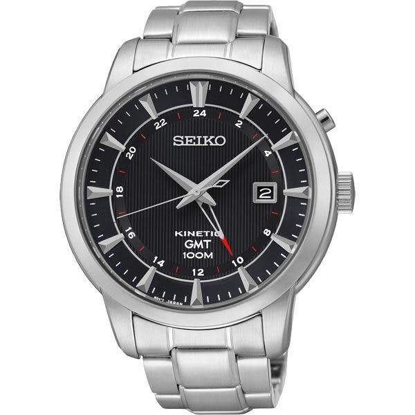 SEIKO 精工 Kinetic 雙時區簡約時尚手錶-黑x銀/44mm 5M85-0AC0D(SUN033P1)