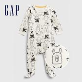 Gap嬰兒 可愛小動物印花拉鍊拉鍊包屁衣 622858-象牙白