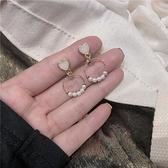 S925純銀可愛心形耳環的耳飾小清新甜美女耳釘珍珠耳夾 育心館
