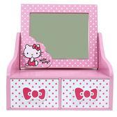 〔小禮堂〕Hello Kitty 木製桌上型化妝鏡雙抽收納盒《粉白點點》抽屜盒木製櫃4713052 38634