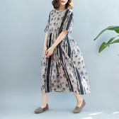 天絲棉連身裙 花點條紋短袖洋裝 寬鬆圓領長裙-夢想家-0427