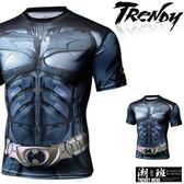 『潮段班』【GN009902】日韓春夏新款 S-2L 美式英雄系列蝙蝠俠金屬腰帶滿版印花修身短袖緊身衣 T恤