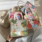 手提包 日系帆布包女包包2021秋冬新款潮韓版百搭涂鴉包手提包少女小布包