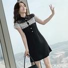 VK精品服飾 韓國風名媛氣質黑白撞色蕾絲拼接短袖洋裝