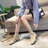 短靴 馬丁靴 針織瘦腿彈力粗跟女靴子 SDN-1460