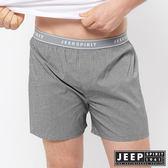【JEEP】五片式剪裁 純棉平口褲(深黑小格紋)