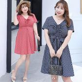 ★韓美姬★中大尺碼~格子布荷葉邊下擺短袖洋裝(XL~4XL)