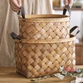 竹編野餐籃 手工木片編織籃竹編竹籃子手提收納籃桌面收納筐菜籃購物籃野餐籃T