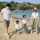 韓版波西米亞沙灘短袖套裝親子裝(女大人)...