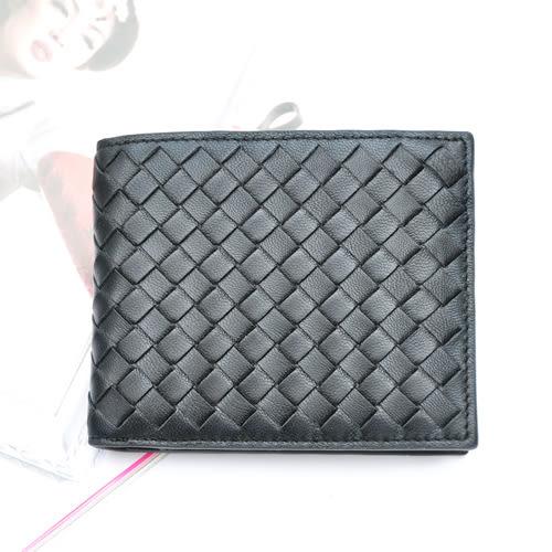 【Miyo皮夾】巴黎時尚風羊皮編織中性短夾(黑色)