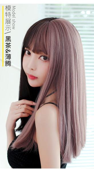 *╮Kinkee假髮╭*可愛奇趣 拼色兩色大頭皮 空氣瀏海 內彎內捲中長髮 【 C8232 】