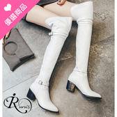 歐美時尚簡約皮帶裝飾尖頭高跟長筒靴/2色/35-44碼 (RX0476-854) iRurus 路絲時尚
