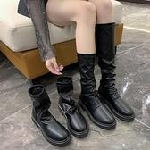 短靴 黑色騎士英倫風帥氣馬丁靴女夏季薄款顯瘦新款百搭長靴女 - 古梵希