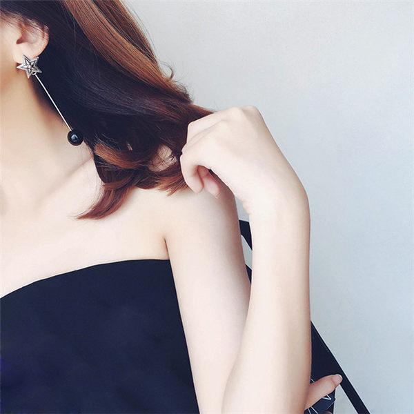 Qmigirl 韓版復古羽毛五角星星大理石鑲嵌長款耳環【QG2276】