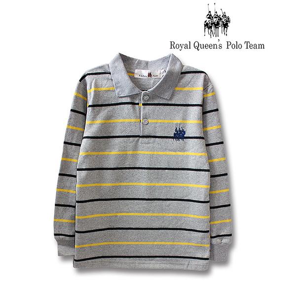 男童單層領條紋針織POLO衫 RQ POLO 秋冬款 [10128]