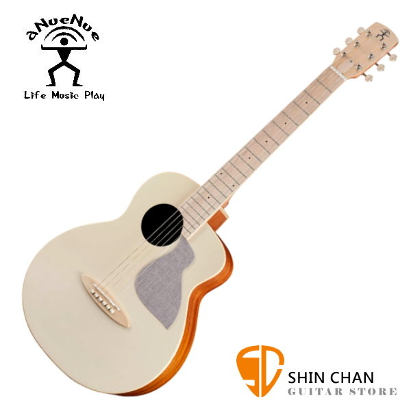 aNueNue MC10-AM 彩色鳥吉他 杏奶白 36吋小吉他 雲杉面單板/桃花心木側背板 附贈原廠亞麻加厚吉他袋