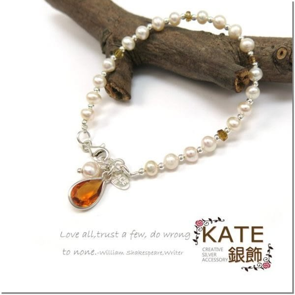 銀飾純銀手環 天然珍珠&天然黃碧璽 和平祈願 純銀手作 獨一無二 925純銀寶石手鍊 KATE 銀飾