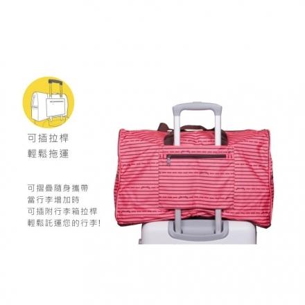 【HAPI+TAS】可摺疊收納旅行袋(H0004-321大-粉紅色度假小島 )【威奇包仔通】