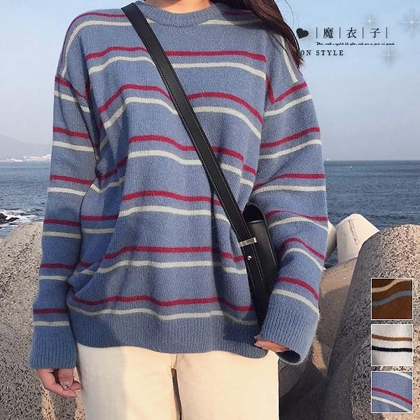 【QV3226】魔衣子-圓領條紋配色寬鬆長袖針織上衣