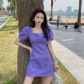紫色泡泡袖連身裙方領收腰顯瘦法式裙子女裝2020新款夏季氣質短裙